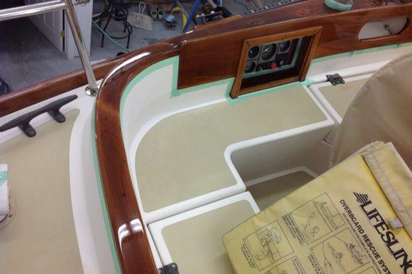 New boat varnish at Belfast Belmont Boatworks.