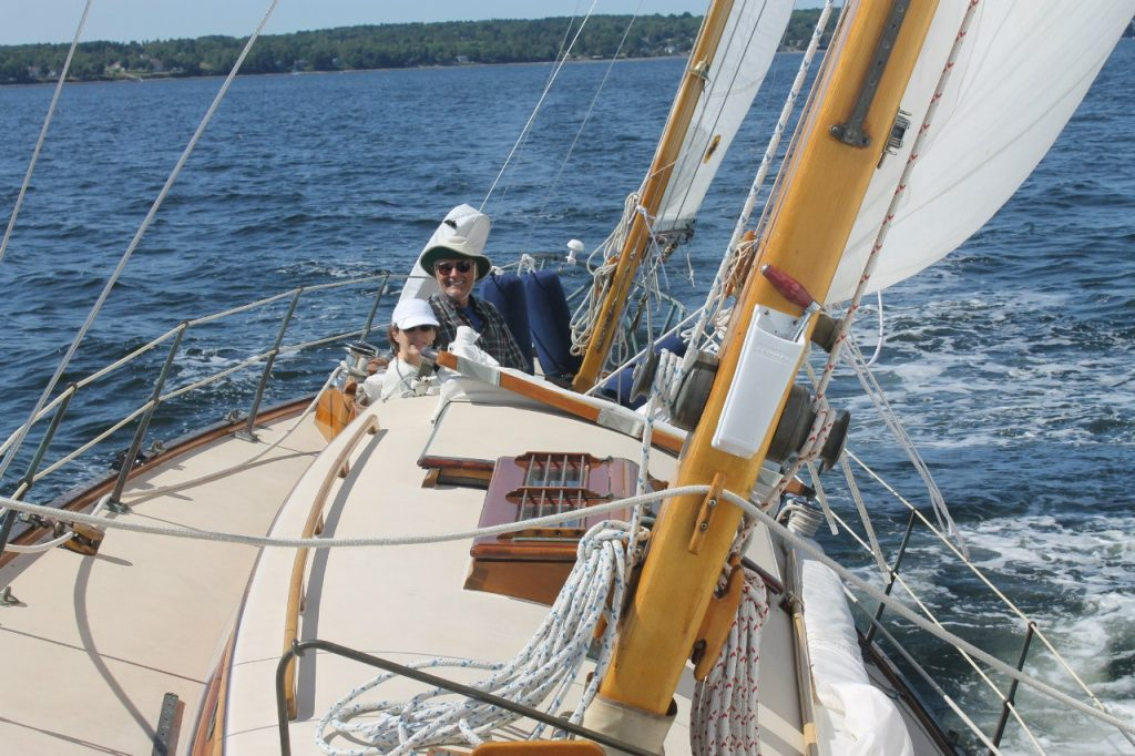 Lara under sail on Penobscot Bay
